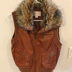 Fur collar pleather vest